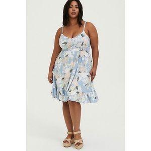 🆕Torrid Blue Floral Skater Dress 3X 22 24 NWT